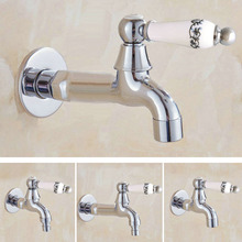 цена на Polished Chrome Wall Mounted Garden Washing Machine Water Tap Faucet Brass Mop Pool Sink Faucet Water Tap KD086