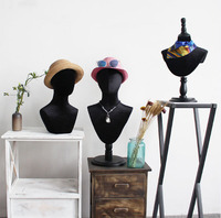 Модный стиль шляпа шарф дисплей черный голова из ткани манекен головы модель для продажи