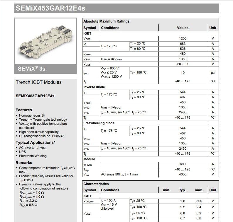 Free Shipping  NEW  SEMIX453GAR12E4S MODULE