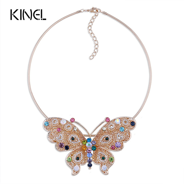 Kinel Butterfly Pendant Necklace Mosaic Colorful Crystal Statement Necklace For Women 2016 New Vintage Jewelry