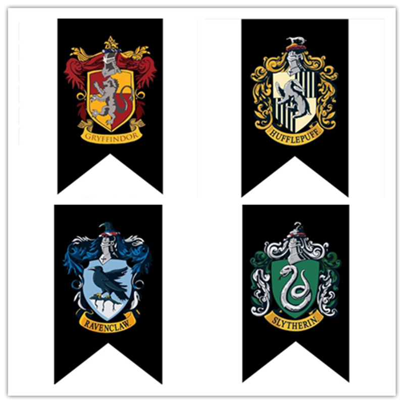 New Harri Potter Banner Hogwarts School Harry Party Supplies College Flag Banners Gryffindor Slytherin Ravenclaw Kids Gift Toys Action & Toy Figures