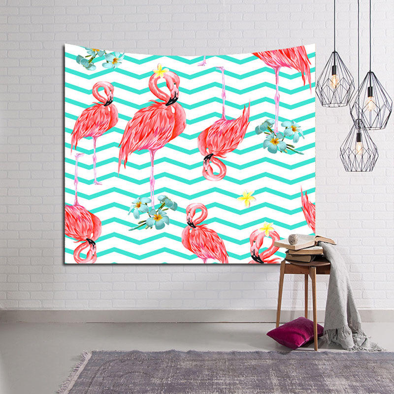 Nordic Flamingo Tropical Animals Tapestry Wall Hanging Monstera Checkered Green Leaves Decor Blanket AnchorPolyester Handmade