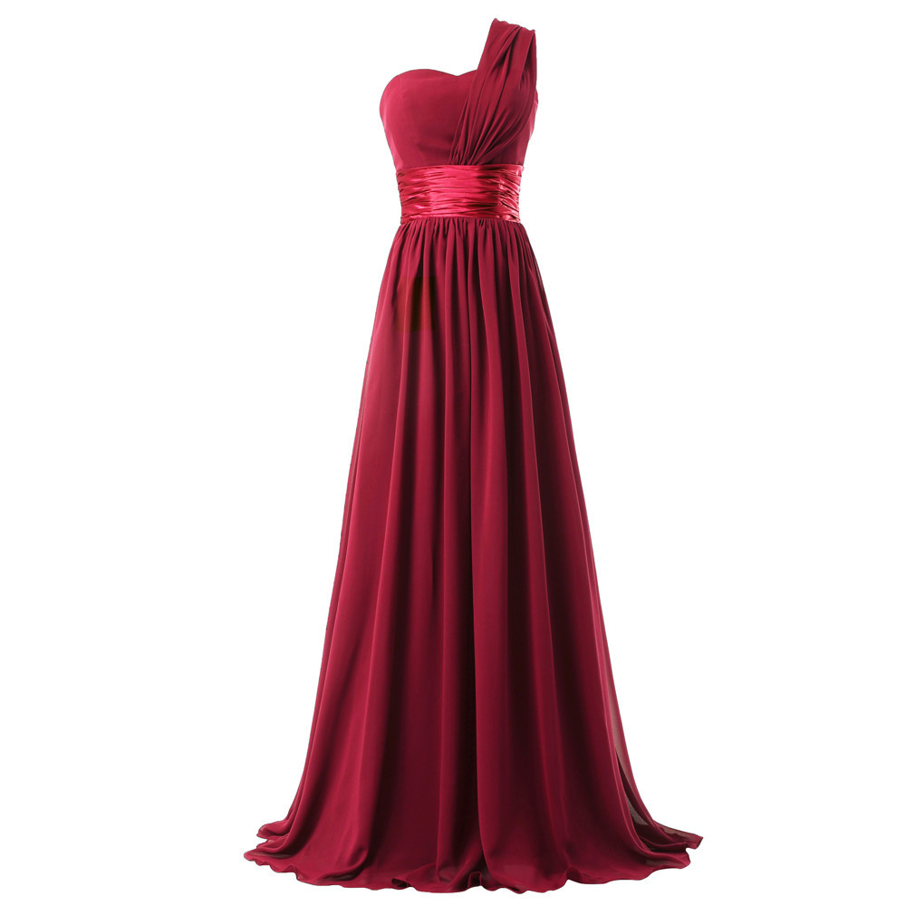 Abiti damigella donna hot chiffon one shoulder purple burgundy royal blue turquoise   bridesmaids     dresses   long cheap
