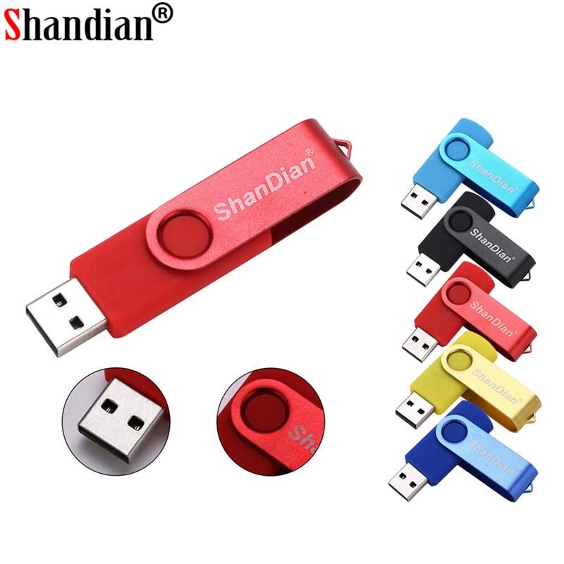 SHANDIAN Mini Swivel USB Flash Drive Memory Cle Usb Stick U Disk Pen Drive 64GB 4GB 8GB 16GB 32GB Pendrive Flash Drive Fro Gift