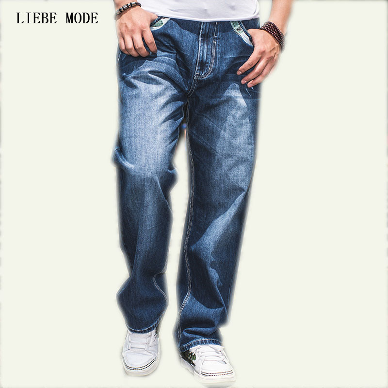 Large Size W30-W46 Wide Leg Loose Blue Jeans Men Skateboard Pants Mens Baggy Hip Hop Jeans Big and Tall Clothing hot new large size jeans fashion loose jeans hip hop casual jeans wide leg jeans