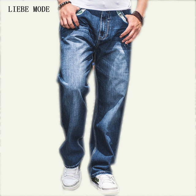 c1210560a1cf4 Large Size W30-W46 Wide Leg Loose Blue Jeans Men Skateboard Pants Mens  Baggy Hip Hop Jeans Big and Tall Clothing