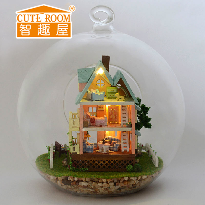 3D Handmade DIY Building Wood Puzzle Jigsaw Furniture Handcraft Miniature Box Kit with Cover LED Light Model Kids Toy B003