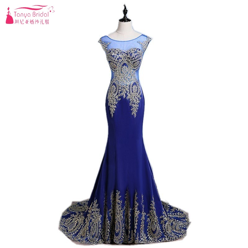 Scoop Sheer Neckline Mermaid Gold Lace AppliquesRed Green Blue Evening Dress Long Robe de Soiree Longue Prom Dresses