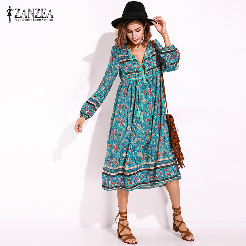 ZANZEA Women Robe Long Sleeve Tie V-neck Loose Floral Chiffon Summer Bohemian Dress Plus Size Female  Bagyy Dress Vestidos floral chiffon dress long sleeve
