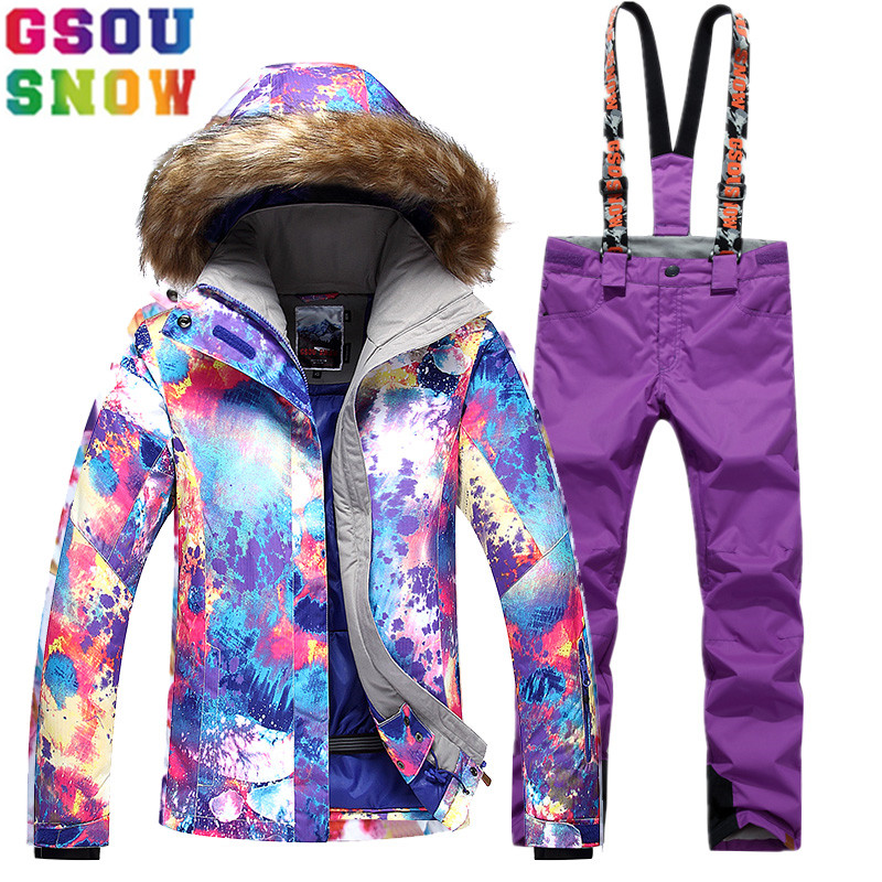 GSOU SNOW Brand Ski Suit Women Ski Jacket Pants Waterproof Snowboard Sets Winter Mountain Skiing Suits Female Outdoor Sport Coat