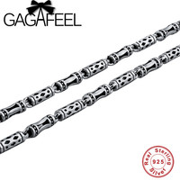 Wholesale 100 Real Pure 925 Sterling Silver Necklace Brand Thick Chain Thai Silver Long Punk Men