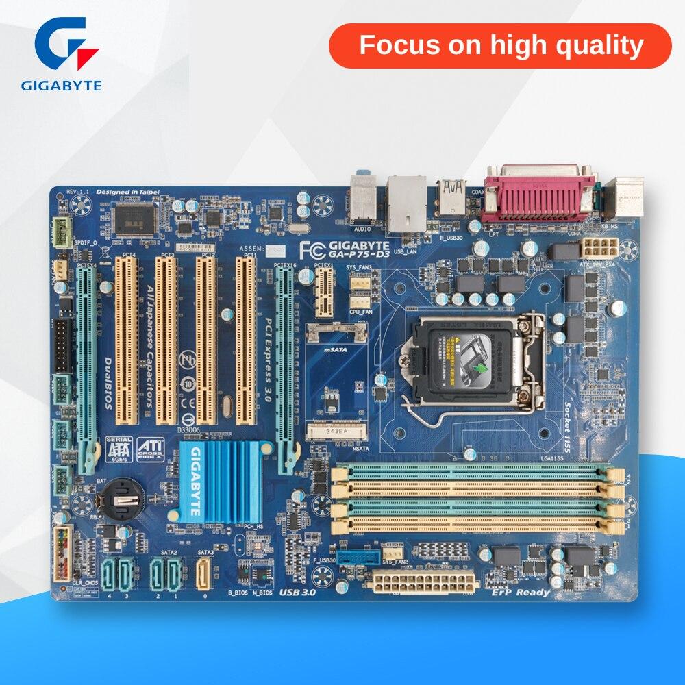 Gigabyte GA-P75-D3 Desktop Motherboard P75-D3 P75 Socket LGA 1155 i3 i5 i7 DDR3 ATX asrock h61m vg4 original used desktop motherboard h61 socket lga 1155 i3 i5 i7 ddr3 16g usb2 0 micro atx