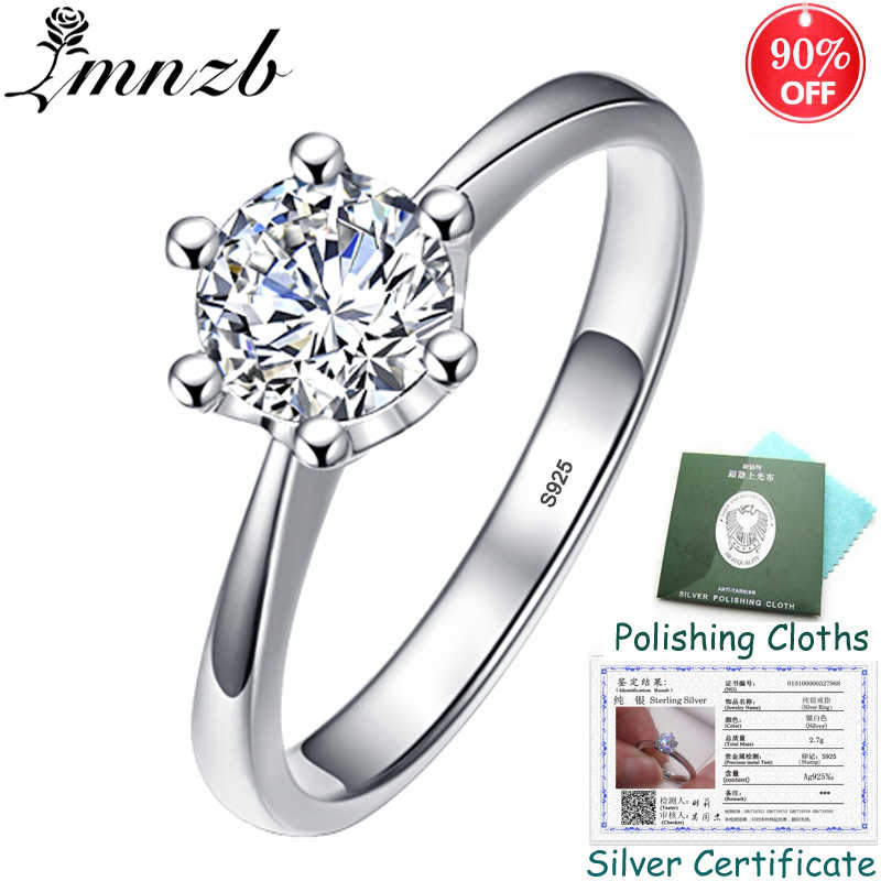 BIG 90% OFF! Original Fine Jewelry 925 Solid Silver Wedding Ring With Certificate Natural 1 Carat Zirconia Rings for Women ZR040