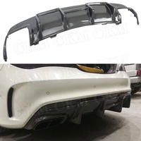Carbon Fiber Rear Lip Spoiler Diffuser For Benz CLA Class W117 CLA200 CLA250 CLA260 CLA45 2013 2019 FRP With 4 Outlet Exhaust