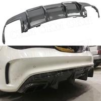 Carbon Fiber Rear Lip Spoiler Diffuser For Benz CLA Class W117 CLA200 CLA250 CLA260 CLA45 2013 2019 FRP With 4 Outlet Exhaust