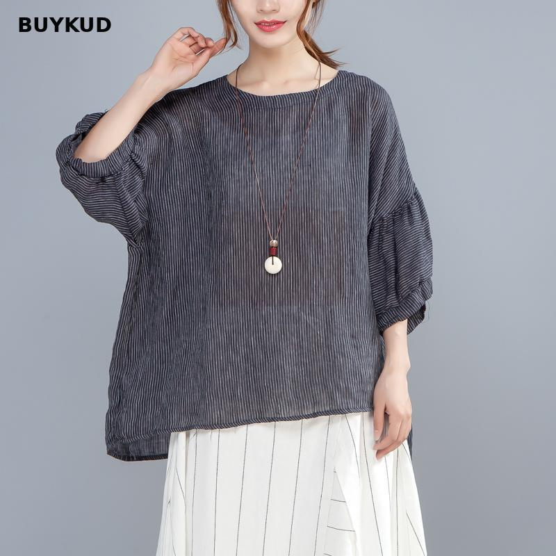 BUYKUD Loose Transparent Black Stripe T-shirt Women Summer Thin Casual T shirt O Neck Three Quarter Lantern Sleeve Tops Femme