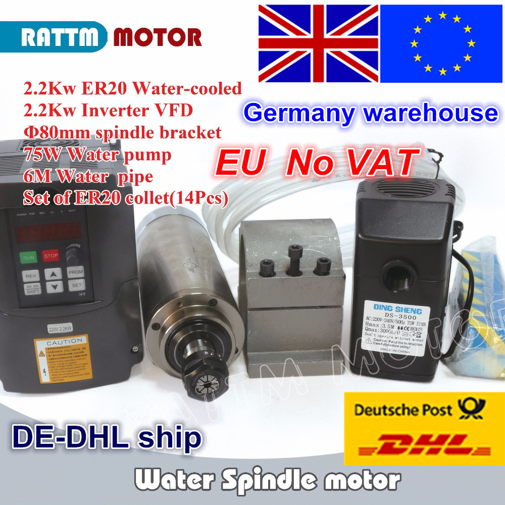UE di Trasporto IVA 2.2KW raffreddato ad Acqua motore mandrino ER20 & 2.2kw Inverter VFD 220 v & 80mm morsetto e pompa acqua/tubi e 1 set ER20 pinza