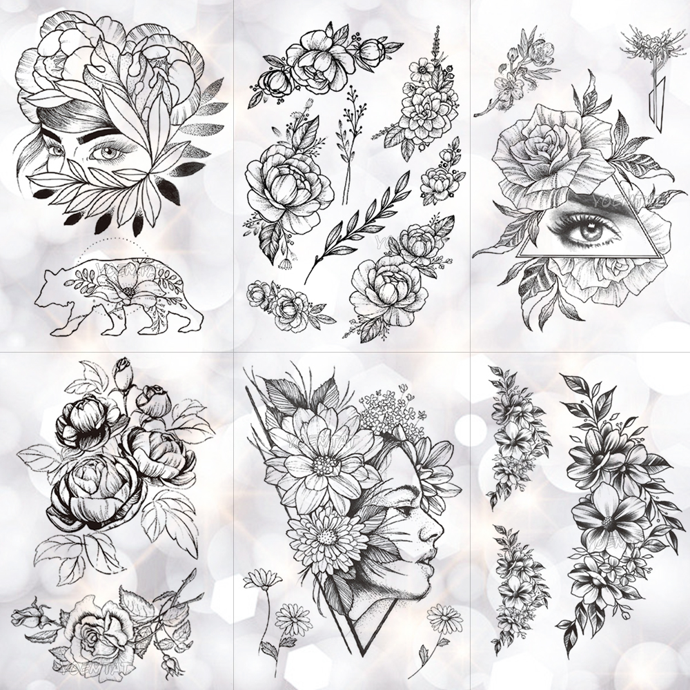 Geometric Flower Rose Eye Leaves Waterproof Temporary Tattoo Sticker Diamond Peony Black Tattoos Body Art Arm Fake Tatoo