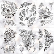 fc3dce80e Geometric Flower Rose Eye Leaves Waterproof Temporary Tattoo Sticker  Diamond Peony Black Tattoos Body Art Arm