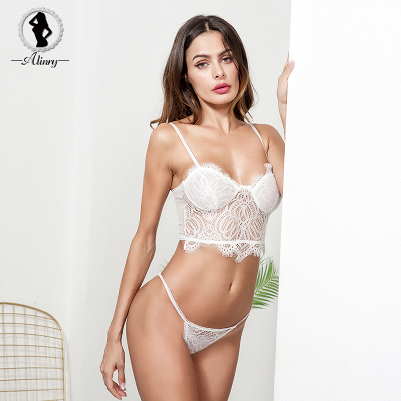 Buy ALINRY sexy bra panty set women floral lace push lingerie bralette white transparent wire free intimates underwear brassiere