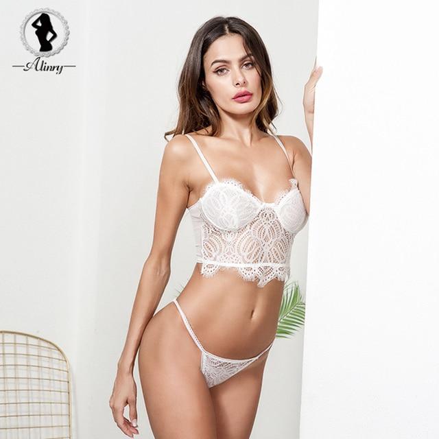 5d56cd74c7 ALINRY sexy bra panty set women floral lace push up lingerie bralette white  transparent wire free intimates underwear brassiere