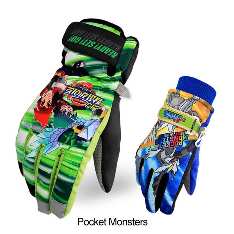 Prix pour 2016 Corée Neige Ski Gants Mignon de Poche De Dessin Animé Monstres pour enfants Enfants Garçon Fille Étanche Snowboard Gants 8 14 ans vieux