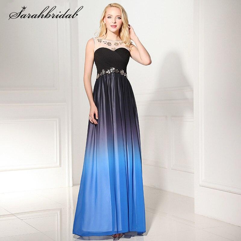 Charming Ever Pretty Royal Blue Long   Prom     Dresses   With A Line Zipper Floor Length Chiffon Crystal Evening   Dress   SD363