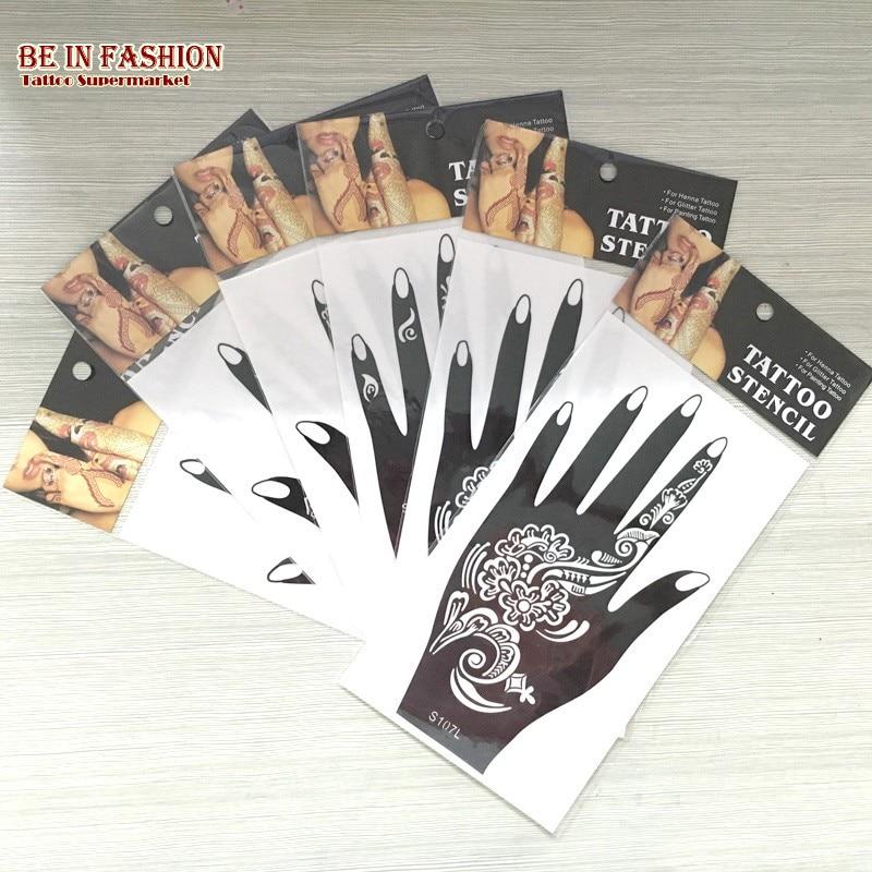 Wrist Henna Tattoo Outlines: 6pcs/lot Henna Tattoo Stencils Indian Airbrush Lace Flower