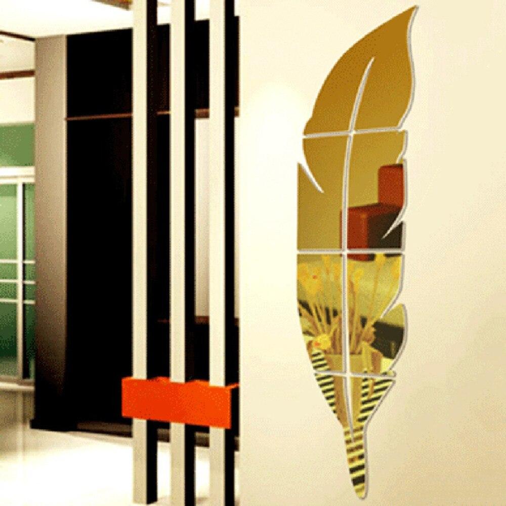 1 Pc Leaf Shape Acrylic Mirror Wall Stickers DIY Art Wall Decor ...