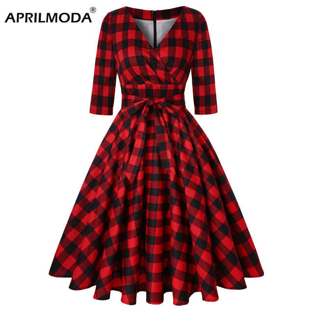 7f33af6f0f Plus Size Retro Vintage Women Dress 50s 60s Half Sleeve Red Plaid Print  Rockabilly Sexy Dresses