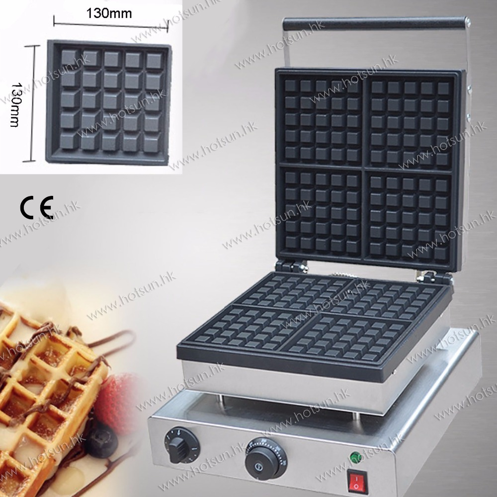 110v 220V Commercial Use Non-stick Electric 4-Slice 13.5cm Square Classic Waffle Machine Maker Iron Baker