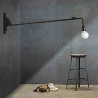 Vintage American Country Wall Lamp Loft Potence Wall Light Long Arm Sconce Bedroom Living room Bedside Lighting Led E27 Lamps