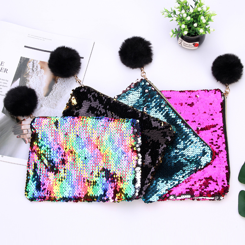 Colorful Sequins Pencil Cases For Girls Cute Plush Ball School Pencil Bag Cosmetic Bag Stationery Pouch Office Supplies