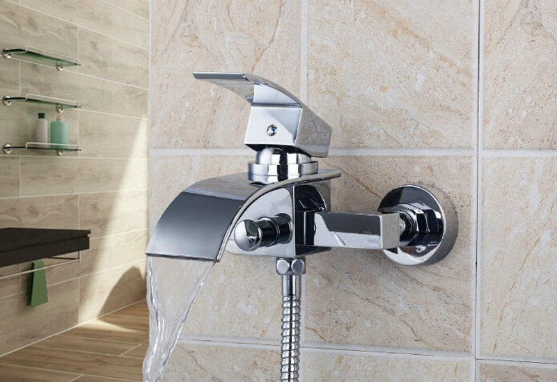 OUBONI Brand New Solid Brass Bathtub Faucet 8256S Wall Muonted Chrome Mixer Tap With Handheld Shower Bath Waterfall Faucet gappo classic chrome bathroom shower faucet bath faucet mixer tap with hand shower head set wall mounted g3260