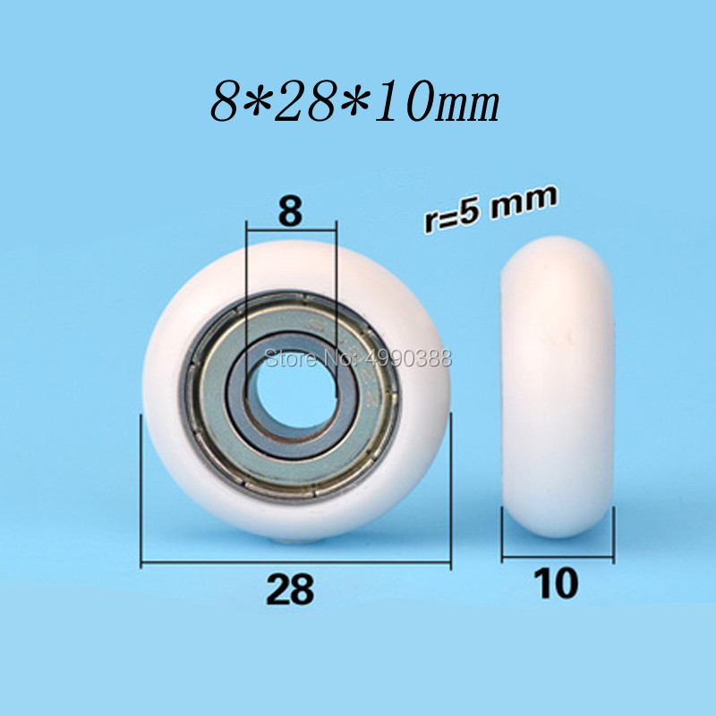 8*28*10mm bearing plastic coated spherical rolling wheel round European standard track aluminum profile bearing bearing pulley