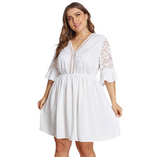 Summer Big Size Dresses for Women Super Casual White Floral Lace Mid Dress Ladies Oversized Plump Girl Elegant