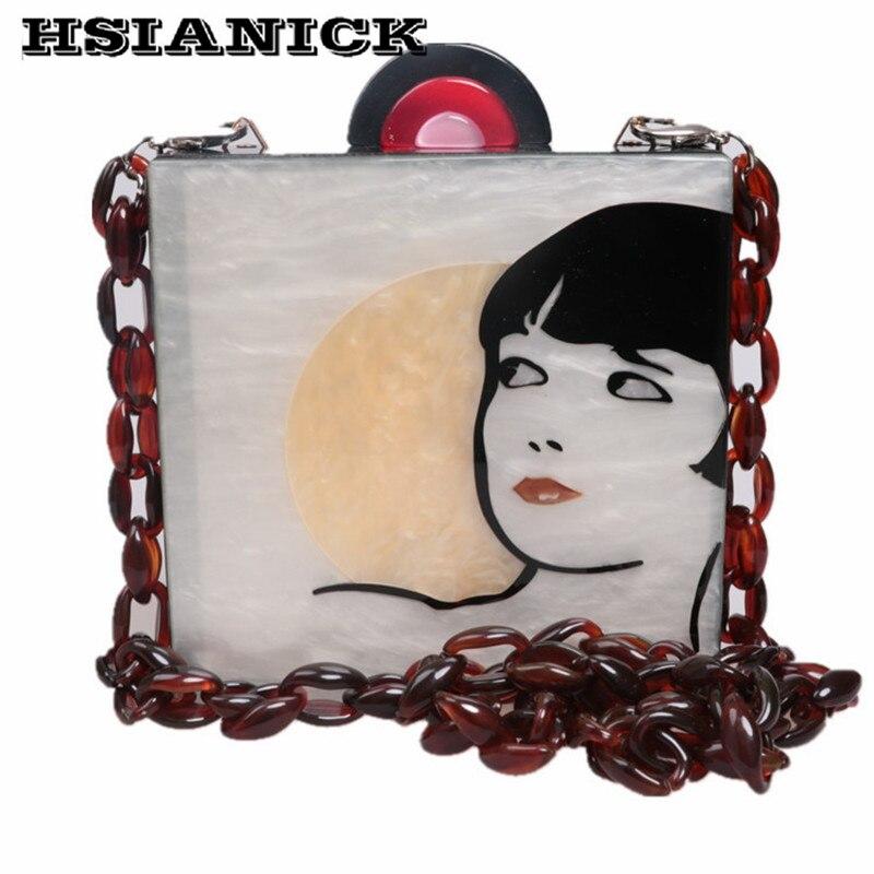 아크릴 손 바느질 디자인 여자 얼굴 패턴 여자 골동품 작은 사각형 클러치 메신저 가방 저녁 가방 핸드백 클러치-에서탑 핸드백부터 수화물 & 가방 의  그룹 1