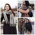 New Fashion Forward Outono Inverno Cor Pura Imitação Cachecol de Caxemira Crianças Gola Espessamento Das Mulheres Lenços