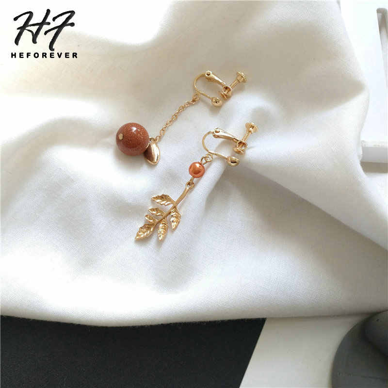 Piercing Perle Lange Ohrringe Für Frauen Ohrringe Mode Schmuck Gold-Farbe Retro Rot Stein Metall Blatt Schmuck 2018 KA175 KA176