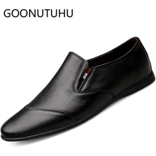 2019 new men's shoes casual genuine leather loafers male brown & black slip on shoe man cowhide driving shoes for men size 36-47 цена