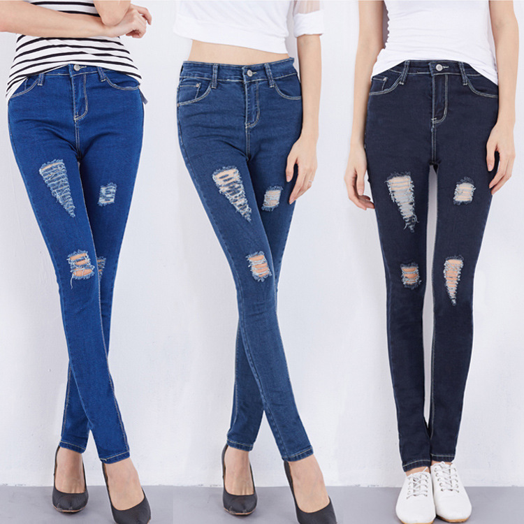 New 2016 Hot Fashion Ladies Cotton Denim Pants Womens High Waist Hole Jeans Skinny Jeans Pencil Pants For Female  AXD9071