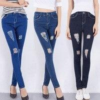 Nowy 2016 Hot Moda Damska Bawełna Denim Spodnie Kobiet Wysoka Talia Skinny Jeans Dziura Dżinsy Ołówek Spodnie Dla Kobiet AXD9071