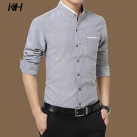 KH High Quality Spring Autumn Stand Collar Mens Shirt Fashion Slim Fit Long Sleeve Casual Business