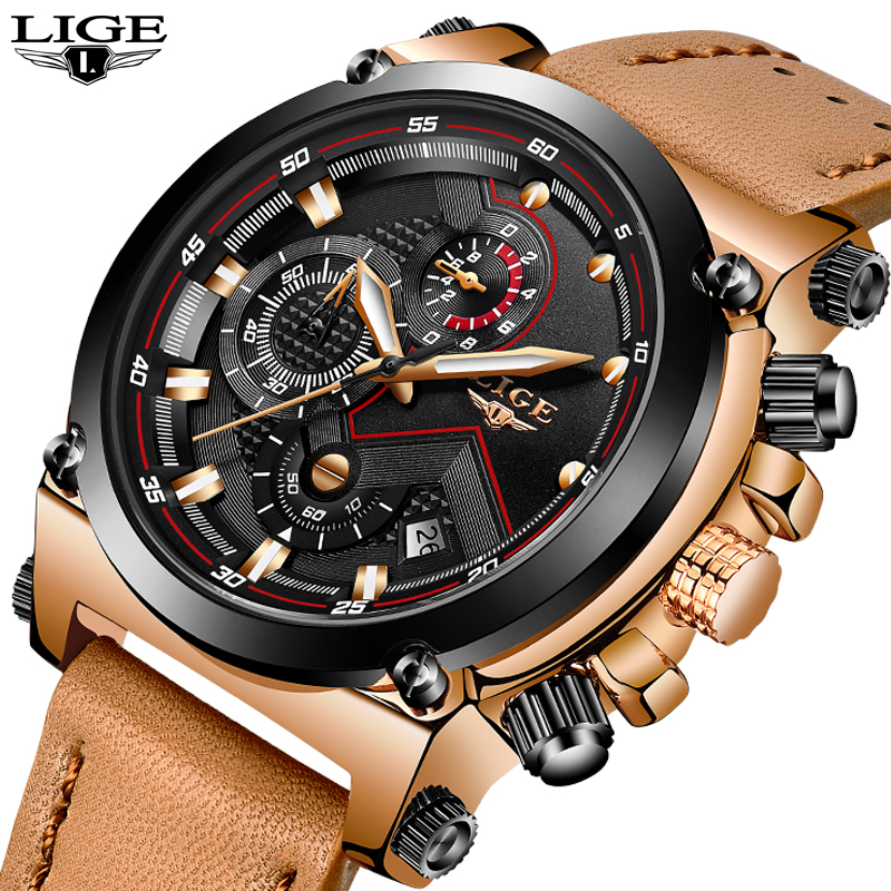 LIGE Mens Watches Top Brand Luxury quartz wristwatches Men Casual Leather Military Waterproof Sport Watch Relogio Masculino curren new top brand men sport watches military luxury leather wristwatches male waterproof quartz watch relogio masculino 8170
