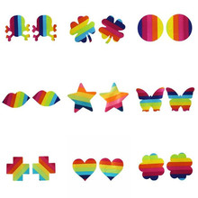 10pairs(20pcs)/lot women Breast Pasties chromophous rainbow color five-pointed star cloth chest paste breathable Nipple Covers