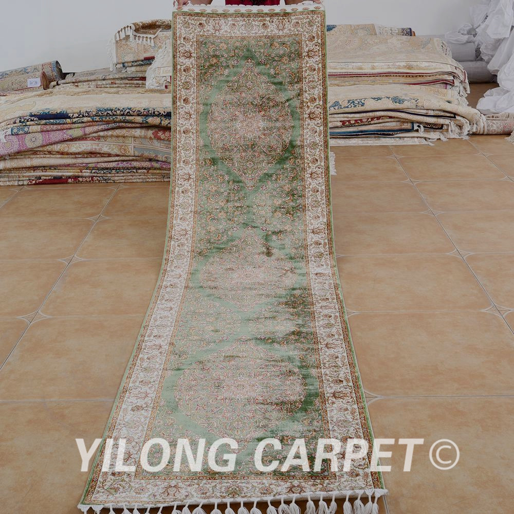 Yilong 2.5'x10' Persian Silk Carpet Runner Green Exquisite