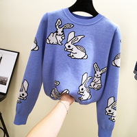 Han edition of new fund of 2018 autumn winters is lovely rabbit jacquard sets loose long sleeved sweater J525