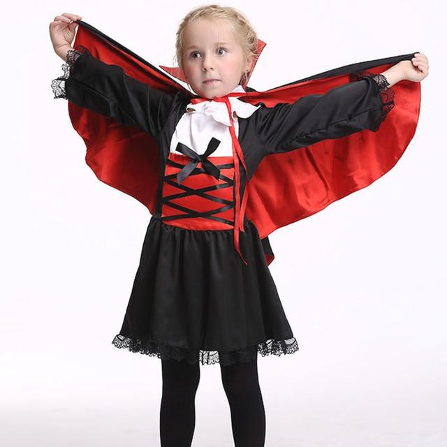 halloween costume for kids autumn girl vampire dressescollarcloakdress cute