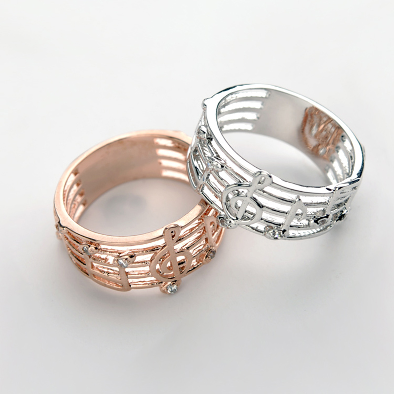 Hot 2018 Hollow Music Design S Gold Silver Plated Rings Wedding Musical Ring Fashion Women Brand Jewellery In From Jewelry