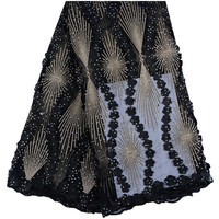 Black Color Nigerian Tulle Lace Fabric Fast Shipping African Lace Fabric For Wedding Embroidery French Lace